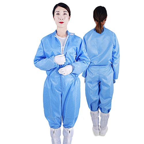 Siamese zonder Cap Strepen van anti-statische Labor Protection Kleding, Jumpsuit, Coat ademend en Clean Hooded Lab, Blue,XL