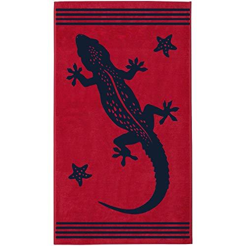 Delindo Lifestyle® Frottee Strandtuch Tropical Gecko ROT, 100{f1672a42c04679323ae3123e6bc3cddf3354837893adbc0433e011e99f38786f} Baumwolle, Strandlaken ist 100x180 cm groß