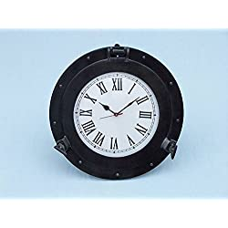 Handcrafted Model Ships Oil Rubbed Bronze Deluxe Class Porthole Clock 17 - Nautical Wall Clock - Clock