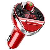 ORIA FM Transmitter, Bluetooth Wireless Car Radio Transmitter, Universal Car Charger with Dual USB Charging Ports, Hands Free Calling, TF Card Support, Red