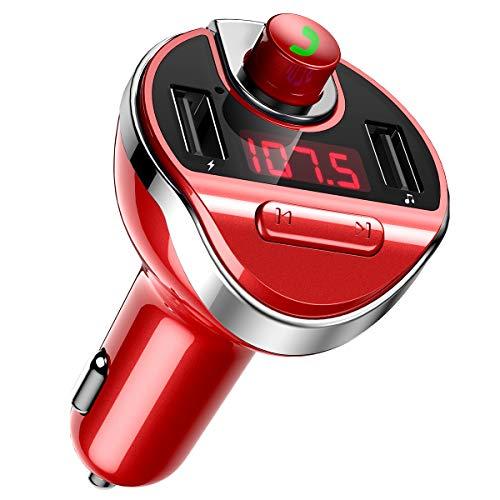 Criacr Bluetooth Transmisor FM para el coche, Adaptador de radio FM inalámbrico Transmisor Kit de coche, Doble puerto de carga USB, Manos libres, U Disk, TF Card Reproductor de música MP3 (Rojo)