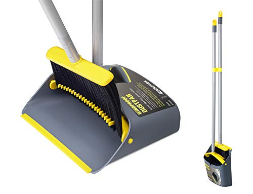 TooToo Broom and Dustpan Set, Sweeper and Dust pan Combo with 137cm Long Handle for Household Cleaning Sweeping, Yellow and Dark Grey