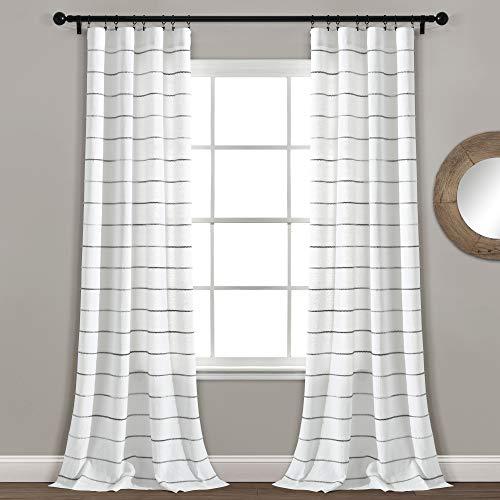 "Lush Decor, Gray Ombre Stripe Yarn Dyed Cotton Window Curtain Panel Pair, 95"" x 40"""