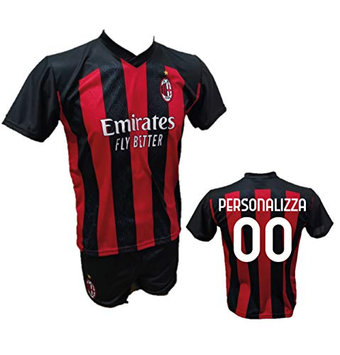 Completo Calcio Maglia Milan Personalizzabile + Pantaloncino Replica Autorizzata 2020-2021 Bambino (Taglie 2 4 6 8 10 12) Adulto (S M L XL) (6 Anni)