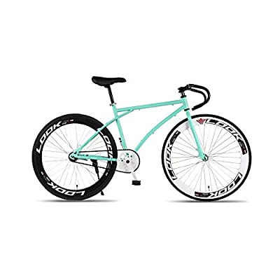 GYZLZZB Bend Handle Fixie Single Speed 700C 26 Inch Commuter City Road Bike High Carbon Steel Frame | Frame Urban Reverse Braking Fixed Gear Bicycle Retro Vintage Adult Ladies Men(Green and Black)