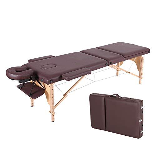 YZT QUEEN massagestoel, bruin in hoogte verstelbaar professioneel houten frame multifunctioneel draagbaar 3-delig inklapbare massagetafel, geschikt voor schoonheid, tatoeage, behandeling, massage enz.