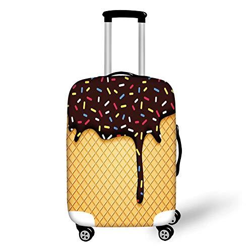 Reizen Bagage Cover Koffer Beschermer, Ijs Cream Decor, Wafel Chocolade Smaak Dessert Heerlijke achtergrond Stijlvolle Graphic, Donker Bruin Mosterd, voor Reizen