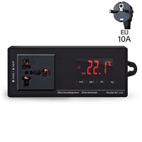 PINH-lang Thermostat,10A AC-112 Auslassthermostat Digitaler Temperaturregler Zubehör für Aquarienheizungen mit Sensor
