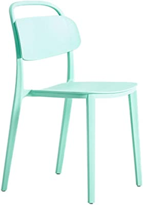 Casual Plastic Back Home Dining Chair Cold Drink Shop Cafe Chair Bearing Weight 250Kg Anti-Fall Anti-Aging,Green