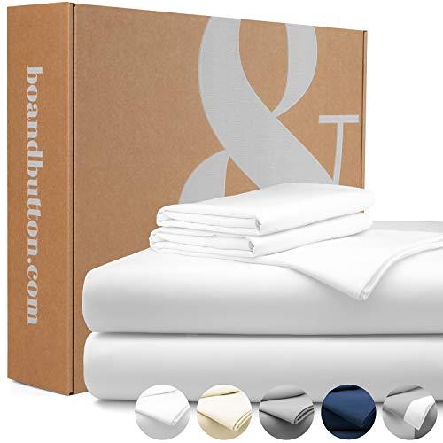 bo&button® Mako Satin Bettwäsche, echte Luxusqualität, Set 200x220 cm, 100% feinste GOTS Bio Baumwolle, Weiß