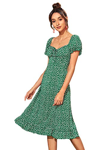 Floerns Women's Ditsy Floral Sweetheart Puff Sleeve A Line Midi Dress Green S