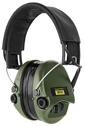 Sordin Supreme PRO X - Aktiver Gehörschutz SOR75302-X/L-G Elektronischer Gehörschützer Gel-Kits Lederband Grüne Cups