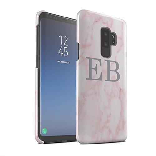 Gepersonaliseerd roze marmer mode glans hoes voor Samsung Galaxy S9 Plus / G965 / zilveren stempel design/initialen/naam/tekst snap-on beschermhoes/case/etui