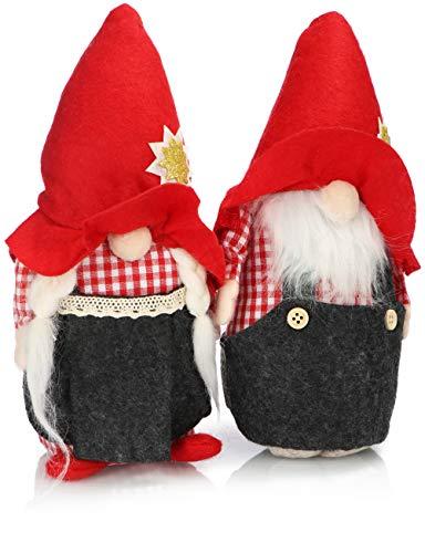 com-four 2X Coppia Premium di Elfi di Natale Taglia M per Decorazioni, Figure Alpine Come Oggetti Decorativi Invernali, Grazioso Sgabello ad Angolo Come Decorazioni (Rosso Alpino Giallo 25 cm)