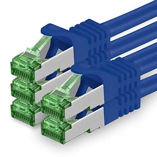 1aTTack.de Cat7 Netzwerkkabel 0,5m - Blau - 5 Stück - Cat 7 Ethernetkabel Netzwerk LAN Kabel Rohkabel 10 Gigabit s - SFTP PIMF LSZH - Patchkabel Rohkabel mit Rj 45 Stecker Cat.6a