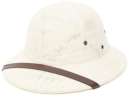 EOZY Safari British Casco Gorra de Caza para Hombre,Sombreros de Caza -Sombrero de Disfraz Pesca Senderismo Jardinería Adulto,French Pith Hat (56-60 cm, Blanco lechoso)