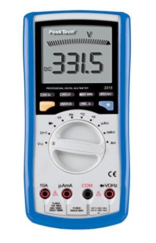 PeakTech 3315 - Digital Multimeter mit USB & Analog-Balkengrafik, 4000 Counts, Handmultimeter, Kapazität, Messung, Spannungsmesser, Autorange, Durchgangsprüfer, Messgerät, Strom - CAT III 600 V