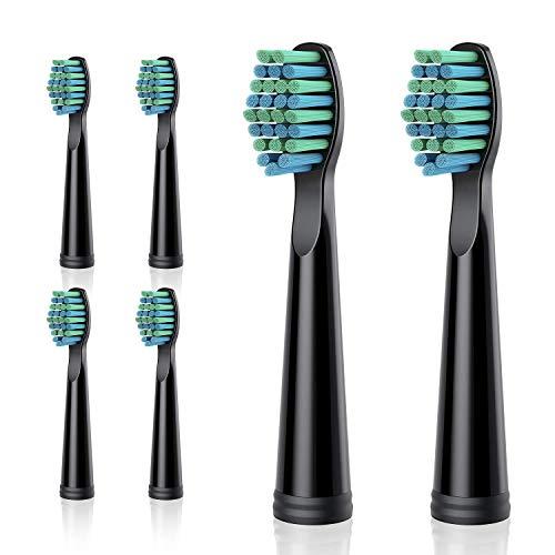 ATMOKO Zahnbürstenköpfe, Ersatz für ATMOKO Elektrische Zahnbürste HP126A Modell, 6 Stück, Schwarz