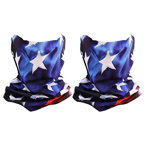LUOEM 2 Piezas Polaina de Cuello de Bandera Americana Poliéster Polvo Protección UV Diadema Bandana Multiusos Cara Bufanda Cubierta para Senderismo de Verano Equitación Patriotas de