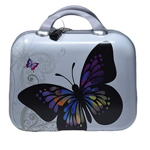 Maleta pequeña de Viaje rígida con candado de combinación y Espejo de Mano (Mariposas)