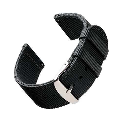 Archer Watch Straps Nylon Uhrenarmband mit Schnellverschluss - Schwarz, 20mm