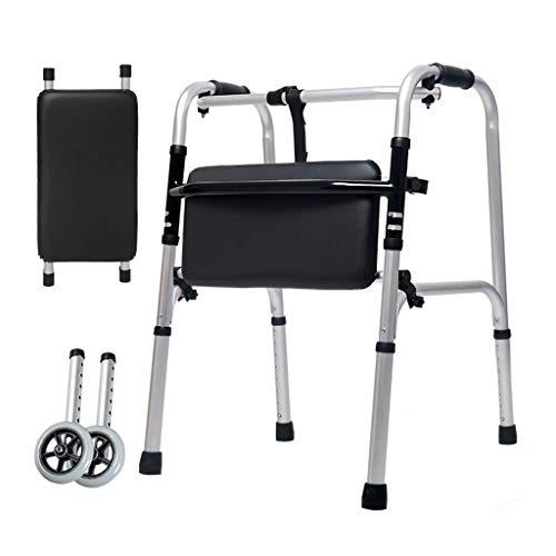 Yxsd aluminium legering dubbele leuningen voor de bejaarden bijgestaan onderste ledematen wandelen Stick vier voeten gehandicapt wandelen wiel bad plaat 47cm × 52cm × 73cm
