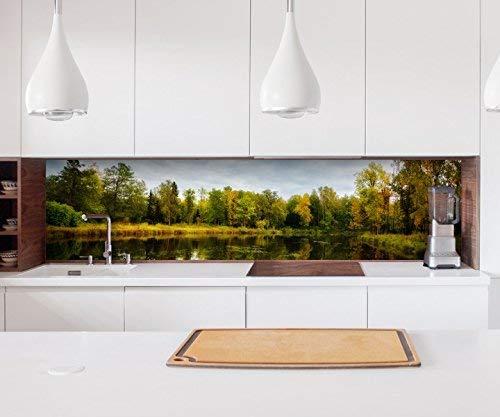 Aufkleber Küchenrückwand Herbst Wald See Wasser Baum Bäume Natur Landschaft Kitchen Küche Folie Fliesen Möbelfolie Spritzschutz 22?1353, Höhe x Länge:90cm x 300cm