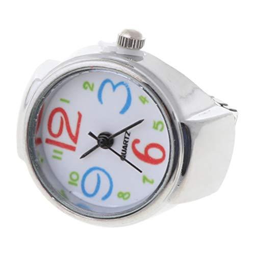 unknows Hero-s Movement Quartz Finger Ring Watch Dial Redondo Árabe de Acero Inoxidable, Dial para Mujer Reloj analógico de Cuarzo con Anillo de Dedo Regalo Creativa