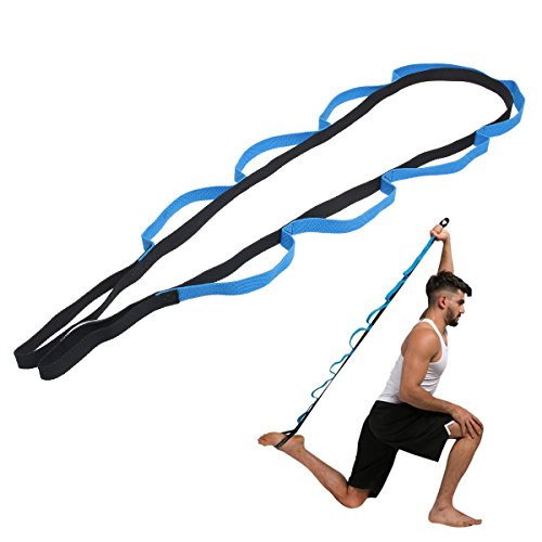 Bluelover 10 Bucles Deporte Brazos Piernas Espalda Hombros Fitness Plegable Yoga Estiramiento Correa