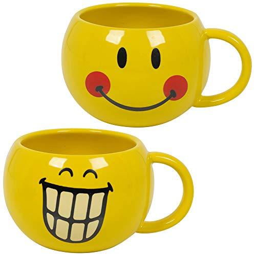Juego de 2 tazas de café y té de 30 cl, color amarillo con cara sonriente Emoji en paquete de regalo