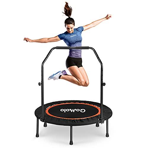 Fitness Trampolin, Qomolo Sport Trampolin Ø102cm, Trampolin Rebounder mit verstellbarem Griff für die Fitness-Max Bis 180KG