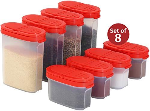Signoraware Premium Gewürzboxen Aufbewahrungsboxen für Gewürze in groß und klein mit praktischen Streuer aus BPA-Freiem Plastik luftdichtes Vorratsdosen Set für die Küche (8er Pack)