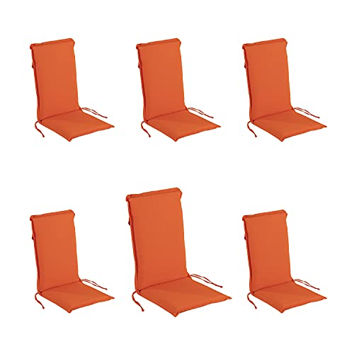 Edenjardi Pack 6 Cojines para sillón de jardín reclinable estándar Naranja, Tamaño 109x42x4 cm, Desenfundable