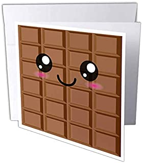 3dRose Kawaii Happy milk Chocolate Bar, Japanese Anime Greeting Cards, 6