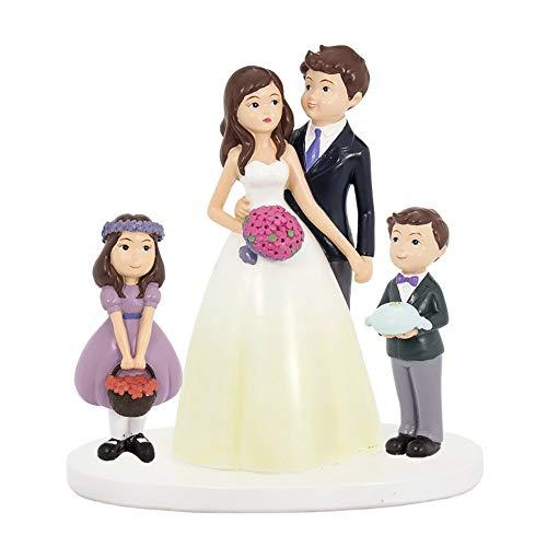 """Elegante Figura de Resina para Tarta de Bodas""""Novios con Niños"""". Recuerdos. Decoración. Regalos Originales. Detalles de Bodas, Comuniones, Bautizos, Cumpleaños.CC"""