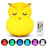 Nachtlicht Baby, Redmoo Nachtlicht Kind Silikon LED Nachtlicht Kinder Touch Dimmbar USB Nachtlampe mit Fernbedienung 9 Farben Stimmungslicht USB Aufladung für Kinderzimmer Schlafzimmer (Eule)