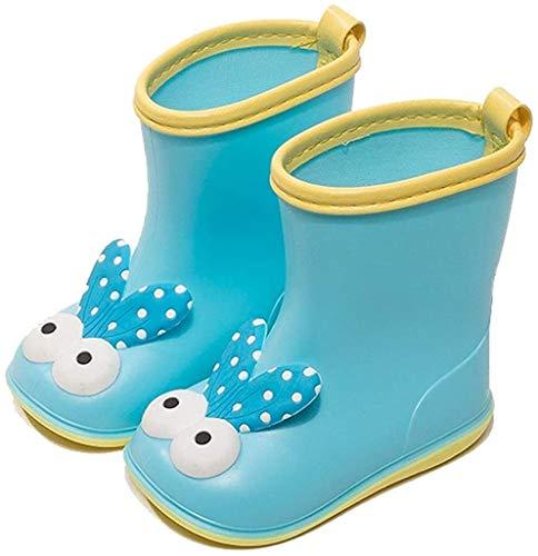 Botas de lluvia Botas de lluvia de PVC infantil Botas impermeables antideslizantes Patrón de dibujos animados lindo botas de lluvia botas (Color : Blue, Size : 17.5cm)