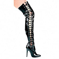 Ferocious Side Lace Thigh High Boots
