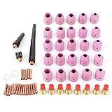Boquilla de antorcha de soldadura, 58 unids/set Kit de lentes de gas de boquilla de boquilla de cerámica Consumibles de pistola de soldadura TIG para antorcha 9/20/25