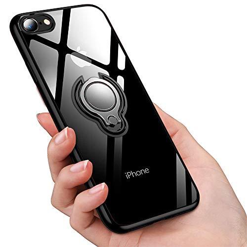 iPhone SE ケース [第2世代] / iPhone8 ケース / iPhone7 ケースリング付き 透明 TPU 耐衝撃 クリア 軽量 薄型 擦り傷防止 磁気カーマウントホルダー車載ホルダー対応 全面保護 滑り防止 アイフォンSE ケース(2020年モデル) アイフォン8ケース 一体型 人気 防塵 携帯カバー オシャレ ストラップホール付き (ブラック)