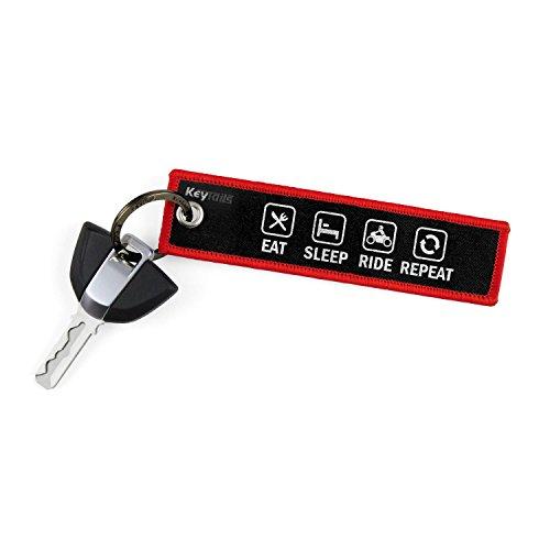 KeyTails Premium-Qualität Motorrad Schlüsselanhänger Schlüsselring Kratzfest Ideal für Ihr Motorrad, Auto [Eat Sleep Ride Repeat]
