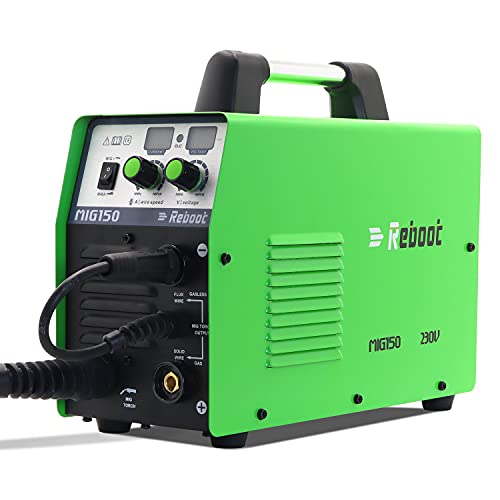 Reboot Mig Welder Machine,Flux Core IGBT Welding RBM1500D Gas/Gasless Stick Mig Dual Voltage 150 Amps Solid Wire Automatic Feed IGBT Inverter MMA ARC Welding