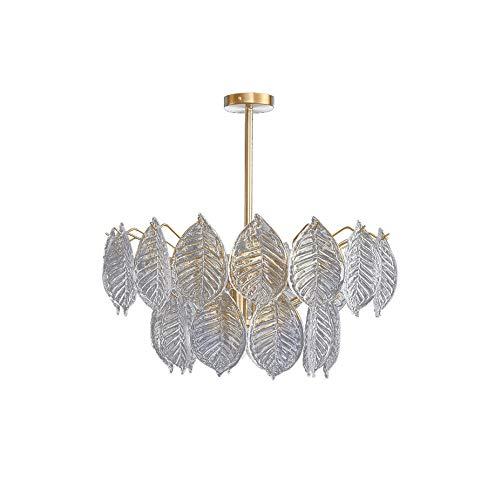 Wmdtr Lámpara Colgante Simple Moderna, Lámpara de diseño de Hoja de Cristal Personalizada, E14 Luces de decoración Interior para Hotel, Entrada, Pasillo, Pasillo, Comedor, Club, Tiendas