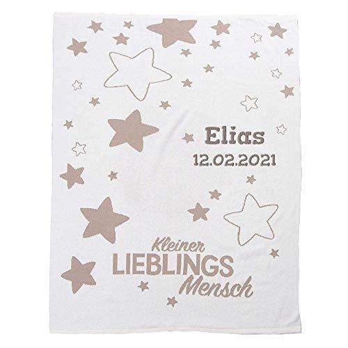 Wolimbo Strickdecke Babydecke mit Namen -Lieblingsmensch - personalisierte/individuelle Geschenke für Babys und Kinder zur Geburt, Taufe und Geburtstag - 75x100 cm