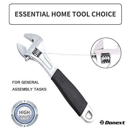 Donext 10 Inch Adjustable Wrench Professional Hand Tool Soft Handle
