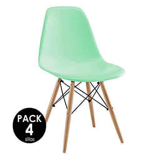 Sillatea Pack 4 sillas Tow Wood - Verde Agua