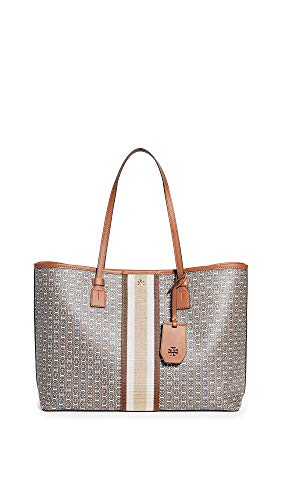 Tory Burch Women's Gemini Link Canvas Tote Bag, Light Umber, Tan, Print, One Size