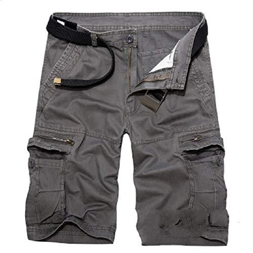 MYPNB Pantalon Multi-Poches pour Hommes_y XL Cinq Pantalons Salopettes Shorts en Coton Pantalon pour Hommes Multi-Poches@Gris foncé_40