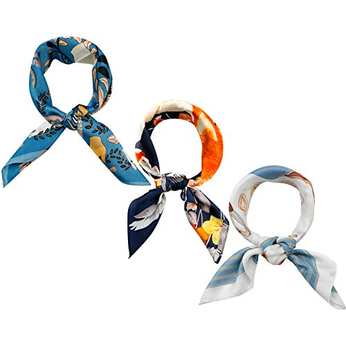 Fascigirl Pañuelo de seda con sensación de seda cuadrada de satén para la cabeza de las mujeres bufandas de moda pañuelo – 27,5 x 69,8 cm, 3pcs-azul oscuro, 27.5*27.5inch
