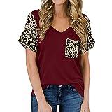 YANFANG Camisetas Mujer Manga Corta Talla Grande, Camisas de Manga Corta con Estampado de Leopardo para Mujer con Bolsillo con Cuello en V Camiseta Casual Top, M,Wine